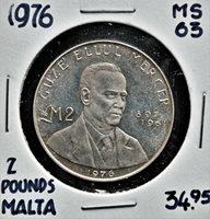 1976 Malta 2 Pounds