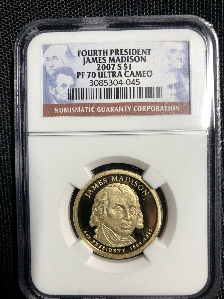 2007-S James Madison Presidential Dollar PR70DCAM PCGS 70 Deep Cameo