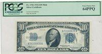 1934 $10 TEN DOLLAR SILVER CERTIFICATE-MULE-FR 1701-PCGS GRADED 64PPQ! FREE S/H!