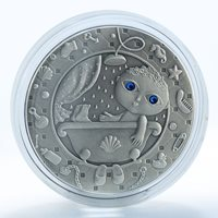 Belarus 20 rubles, Zodiac Signs, Aquarius, silver, zircons, coin, 2009