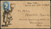 """1c Blue (63). Tied by woman with a broom illustrated design, the head of Franklin incorporated into the illustration with a wreath or garlands around his head, manuscript """"Orovile"""" and German """"postmark"""" at top of cover to a Miss Hester Spinster in Germantown Pa., overall age spotting on cover and perfs of stamp, small tear at top, not sent through the official mails but an outstanding satirical design reminiscent of the Pattee correspondence covers"""
