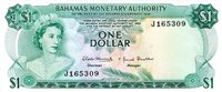 """Bahamas 1 Dollar Pick #: 27a 1968 UNCOther Only one in stock - scanned note is what you'll receive Green Queen Elizabeth II, Sea Garden; Fish, CrestNote 6"""" x 2 1/2"""" North and Central America Shell"""