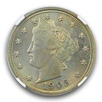 1905 Liberty Nickel 5C NGC MS64