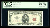DBR 1953-B $5 Legal Fr. 1534 CA Block PCGS 40 PPQ Serial C30310149A