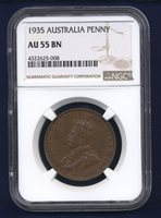 AUSTRALIA GEORGE V 1935 1 PENNY COIN, ALMOST UNCIRCULATED CERTIFIED NGC AU-55-BN
