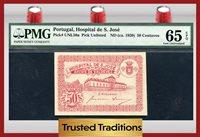 50 Centavos 1920 Pk Unl50a Portugal Pmg 65 Epq Gem Uncirculated!