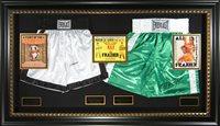 Muhammad Ali vs Joe Frazier Autographed Trunks Display