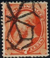 Scott 160, F-VF, NYFM Fancy Cancel, Weiss GE-En1, 1873 7c orange vermillion, with secret mark