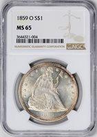 1859-O LIBERTY SEATED S$1, NO MOTTO MS65