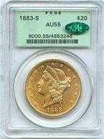 C12390- 1883-S GOLD $20 LIBERTY DOUBLE EAGLE PCGS AU55 CAC OGH - LOOKS SEMI-PL