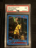 2005 Topps CHROME LeBRON JAMES BLUE XFRACTOR #102 PSA 9 Mint #17/90 RARE! LAKERS