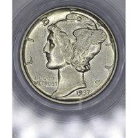 10c Cent Dime 1937 D AU55 PCGS lt gold tone lustrous