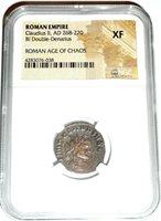 Ancient Roman Empire Claudius II Bi Double Denarius Coin,NGC Certified XF