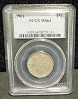 1901 Barber Silver Quarter PCGS MS64 - 011 ENN COINS