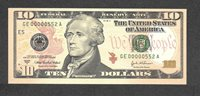 2004A $10 GE00000552A Fancy Low #, BIRTH MONTH/YEAR M/YY 5/52 MAY 1952
