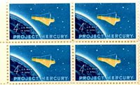 8 BLOCKS (32) 4 CENT U.S. POSTAGE STAMPS 1962 PROJECT MERCURY U.S. MAN IN SPACE