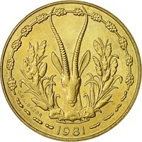 Coin, West African States, 10 Francs, 1981, AU(55-58), Aluminum-Nickel-Bronze