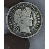 10c Cent Dime 1902 VG8 light gray