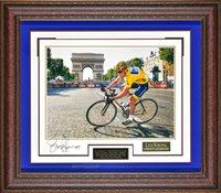 """Lance Armstrong """"Tour de France 7 Time Champion"""" Framed Autograph"""