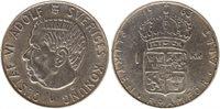 Pièce Suède 1 Krona 1963U - Armoiries, Gustaf VI - Argent