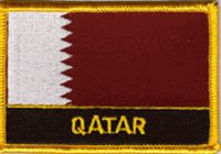 """QATAR FLAG EMBROIDERED PATCH WITH NAME - IRON-ON - NEW 2.5 x 3.5"""""""