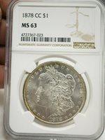 1878-CC Morgan Silver Dollar, NGC MS-63 Nice Original Toning # 7023