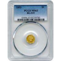BG- 519 G$1 1853 California Fractional, Liberty Octagonal PCGS MS63 R4-