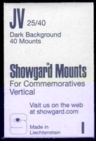 "Lot id: 5173 - Showgard Pre Cut Stamp Mounts ""JV"" Commerative Vertical Most Popular Size 40 MountsFor most all regular size US commeratives, vertical. Made in Liechtenstein. New Never Opened"
