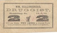 "Stroudsburg Wm. Hollingshead, Druggist Scrip 1863 $0.02 Unl 391-18 Unl -- Featuring a druggist's mortar & pestle at center flanked by two large ""2's"", this example presents very nice centering within gigantic full margins Gem VF"