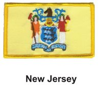 "NEW JERSEY STATE FLAG EMBROIDERED PATCH - IRON-ON - NEW 2.5 x 3.5"" FREE SHIPPING"