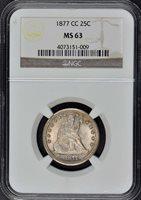1877-CC Seated Liberty Quarter 25C NGC MS63