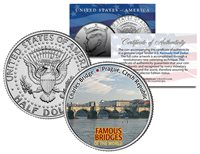 CHARLES BRIDGE * Famous Bridges * JFK Half Dollar US Coin Prague Czech Republic
