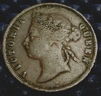 1875 Straits Settlement Queen Victoria 1 Cent coin VF, (plus FREE 1 coin) #D463