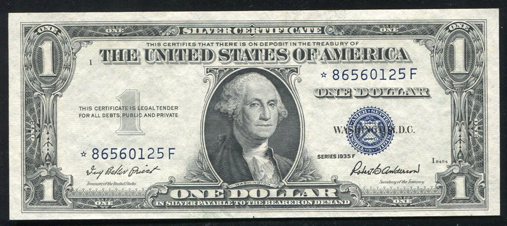 1935 F 1 One Dollar Star Silver Certificate Currency