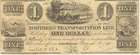 Whitehall Northern Trans. Line 1841 $1 Unl Unl Unl -- A note displaying all modes of transportation of the period; the margins are tiny but full, well centered VF+