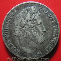 FRANCE 1834-A 5 FRANCS SILVER PARIS MINT PHILIPPE I FRENCH CROWN TONED 37mm c#1