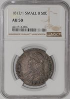 1812/1 Capped Bust Half 50c Small 8 #938809-1 AU58 NGC