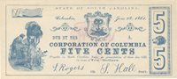 Columbia Corporation of Columbia 1861 $0.05 Unl 906 Unl Unl Printed entirely in blue on the face , this contemporary bogus issue displays very large full margins & is well centered with a sailor & Southern flag in red verso Gem AU+