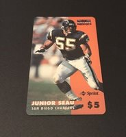 JUNIOR SEAU Chargers Very Rare Proline Intense #7 Sprint $5 Phone Card Expired