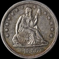 1855-P Seated Liberty Quarter