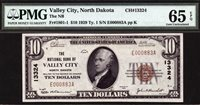 $10 1929 T1 The National Bank of Valley City, North Dakota CH 13324 PMG 65 EPQ