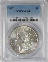 1886 $1 Morgan Silver Dollar PCGS MS64+