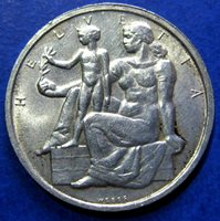 1948 Switzerland Silver Commemorative 5 F-Constitution-Allegoric Helvetia
