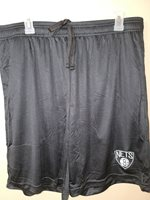 0724-1 Mens NBA BROOKLYN NETS Polyester Jersey SHORTS w/Pockets Embroidered BLK