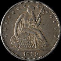 1859-P Seated Half Dollar Nice XF/AU Decent Eye Appeal Nice Strike