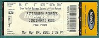 Pittsburgh Pirate 1st Reg Season Tix Stub @ PNC Park Pirates vs Reds Apr 9 2001