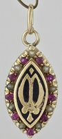 Vintage Art Deco 14K Yellow Gold Marquise Fraternal Pendant Rubies Seed Pearls