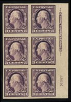 United States1904-91908 3c deep violet, plate block of six, hinged