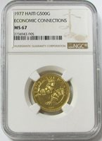 1977 GOLD HAITI 500 GOURDES RARE 107 MINTED ECONOMIC CONNECT NGC MINT STATE 67