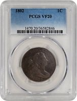 1802 1C Draped Bust Large Cent With Stems PCGS VF20 Circulated Coin